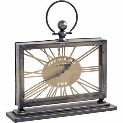 Gray and Gold Metal Desk Clock