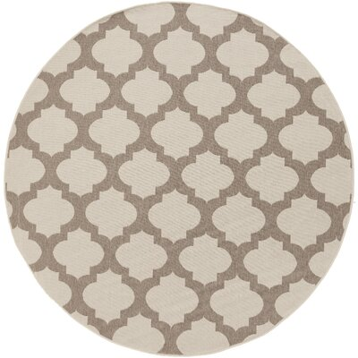Odell Taupe Indoor/Outdoor Area Rug Rug size: Round 73