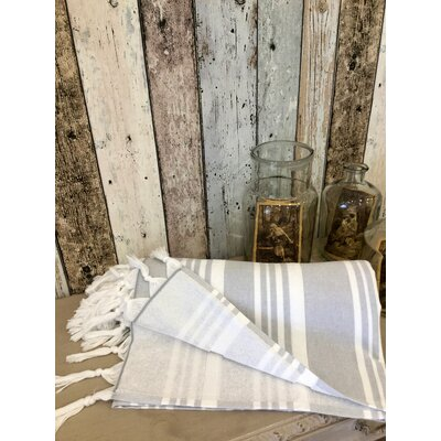 Adrienne Striped Fouta Towel Color: Stone
