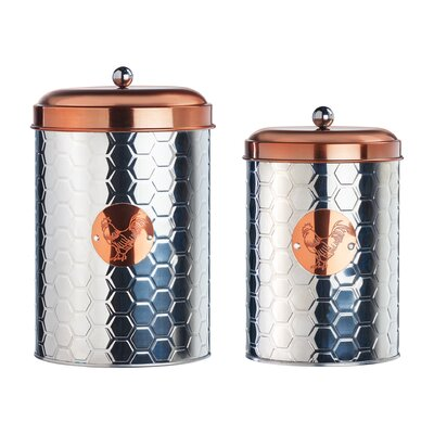 Rooster Farm Metal 2 Piece Kitchen Canister Set
