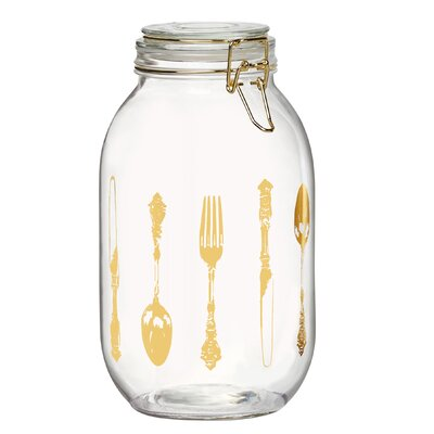 Cutlery Printed Glass Kitchen Canister