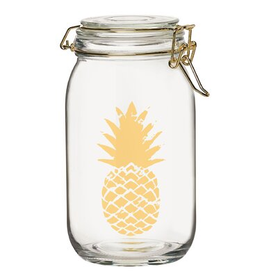 Pineapple Printed Glass Kitchen Canister