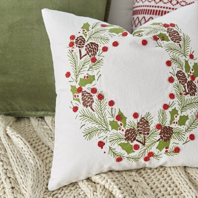Holiday Wreath Embroidered Pillow Cover
