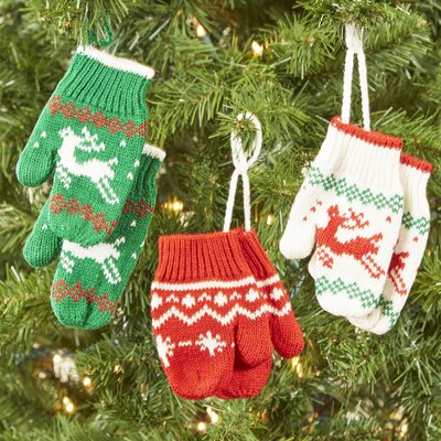 Country Mittens 3-Piece Ornament Set