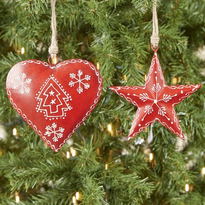 Nordic Heart and Star 2-Piece Ornament Set