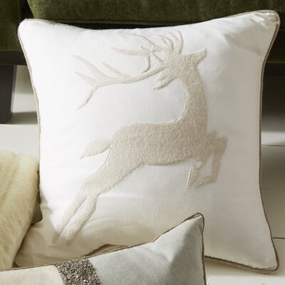 Prancer Pillow Cover Color: White/Beige
