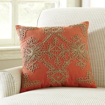 Mia Embroidered Pillow Cover Color: Ginger