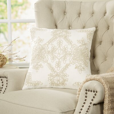 Mia Embroidered Pillow Cover Color: White