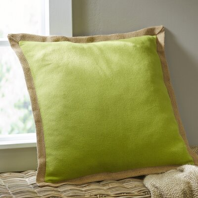Shayna Jute Trim Pillow Cover Color: Green