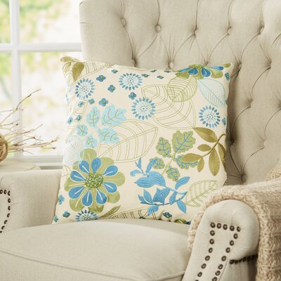 Turquoise Garden Embroidered Pillow Cover