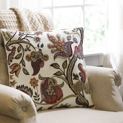 Autumn Garden Embroidered Pillow Cover
