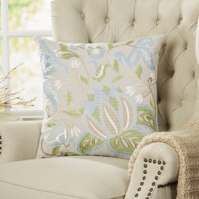 Graceful Blooms Embroidered Pillow Cover
