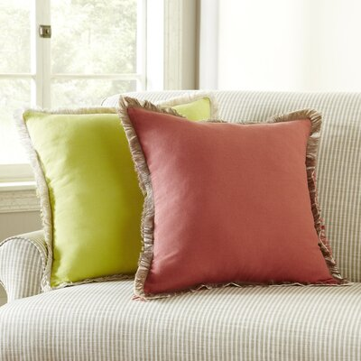 Fringed Pillow Cover Color: Red