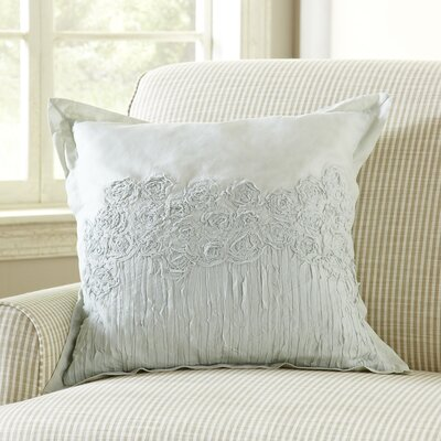 Rosebud Applique Pillow Cover Color: Aqua