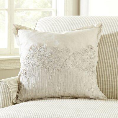 Rosebud Applique Pillow Cover Color: Tan