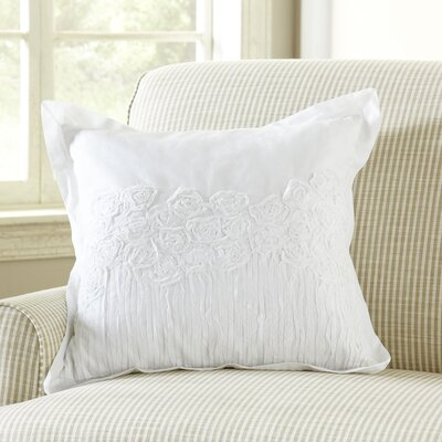 Rosebud Applique Pillow Cover Color: White