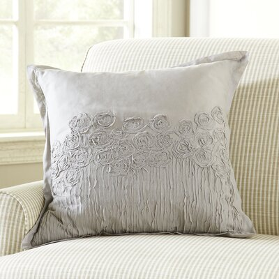 Rosebud Applique Pillow Cover Color: Gray