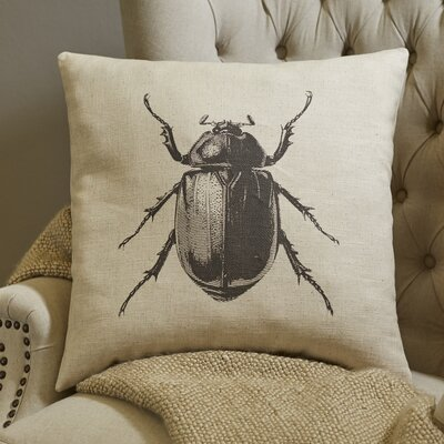 Pen-and-Ink Beetle Pillow Cover