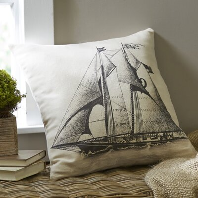 Sailboat Ivory Denim Pillow Cover