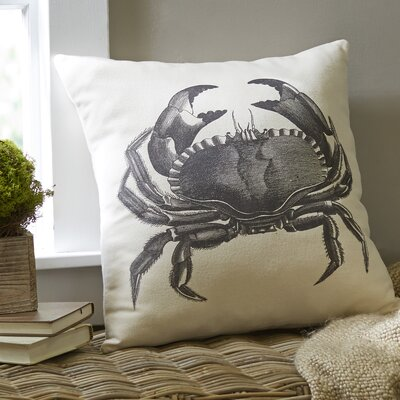 Crab Ivory Denim Pillow Cover