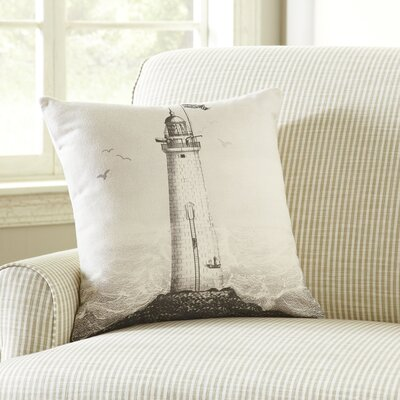 Lighthouse Ivory Denim Pillow Cover