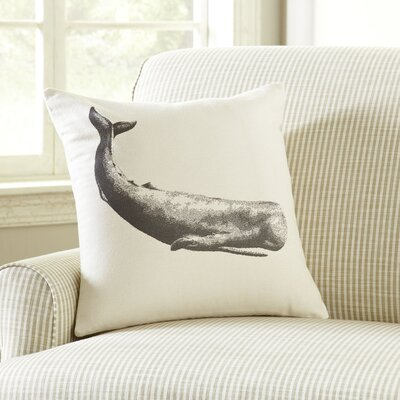 Whale Ivory Denim Pillow Cover