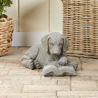 Well-Read Pup Garden Statue