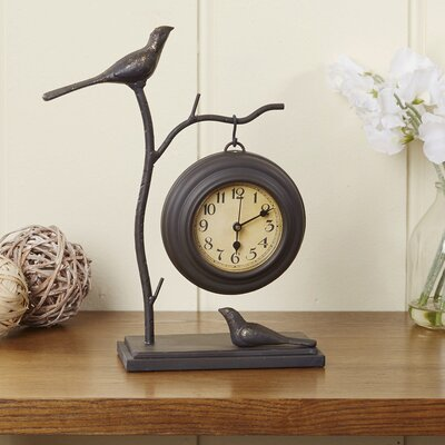 Bird & Branch Iron Table Clock