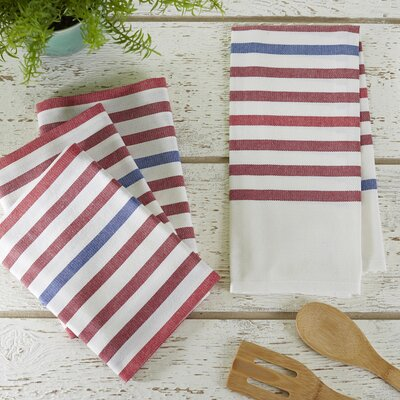 Ryann Striped Kitchen Towel Color: Rouge