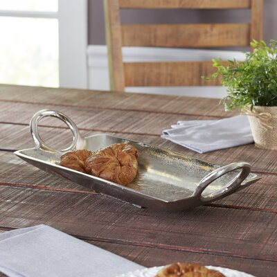 Lodo Handled Rectangle Tray Color: Silver