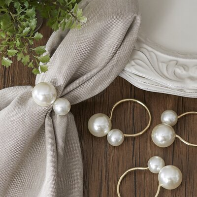 Canvey Pearl Napkin Rings Color: Gold