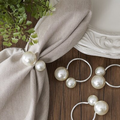 Canvey Pearl Napkin Rings Color: Silver