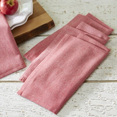 Fryeberg Chambray Napkins Color: Red