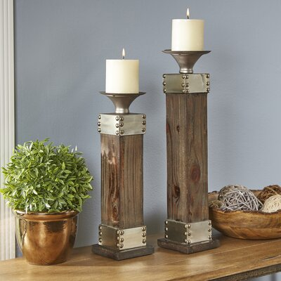 Lyell Fir and Metal Candlestick Holders