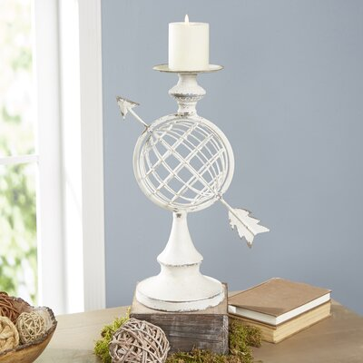 Globe & Arrow Candlestick Holder