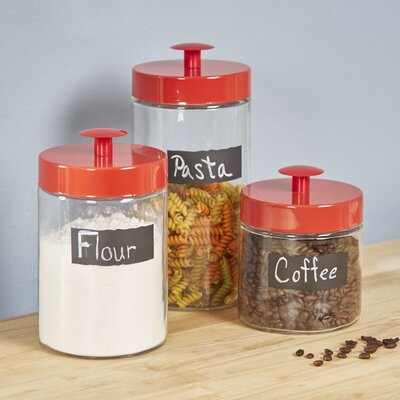 Drane 3 Piece Kitchen Canister Set Color: Red