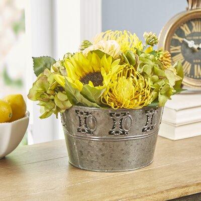 Faux Golden Florals in Tin Pot