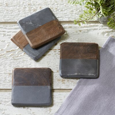 Walmer Marble & Wood Coasters Finish: Dark Wood
