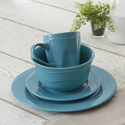 Vermillion 16-Piece Dinnerware Set Color: Green