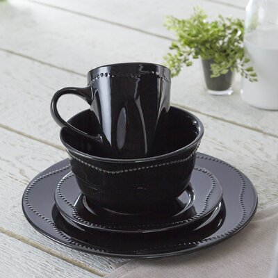 Vermillion 16 Piece Dinnerware Set, Service for 4 Color: Black