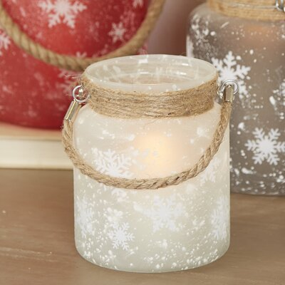 Frosted Snowflake Lantern Color: White, Size: Large