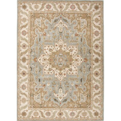Alisa Blue and Ivory Rug Size: Rectangle 97 x 137
