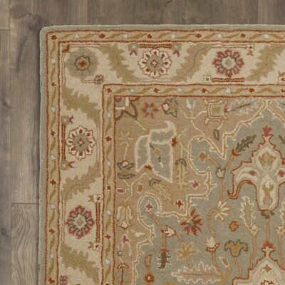Alisa Blue and Ivory Rug Size: 97 x 137