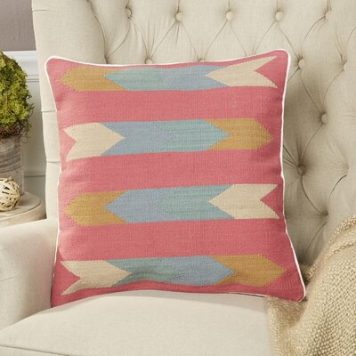 Esperanza Pillow Size: 18 H x 18 W x 4 D, Color: Pink, Filler: Down