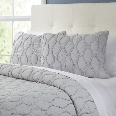 Wavy S Ruffled Quilt Set Size: Full/Queen, Color: Gray