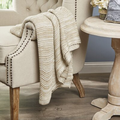 Kady Knitted Throw Color: Taupe / Ivory
