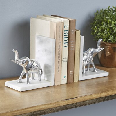 Marble and Aluminum Elephant Book Ends