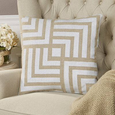 Messina Linen Pillow Size: 22 H x 22 W x 4 D, Color: Light Gray / Beige, Filler: Down