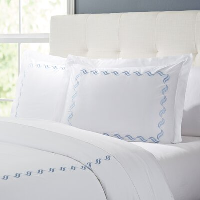 Wendell Duvet Set Color: White/Blue, Size: King