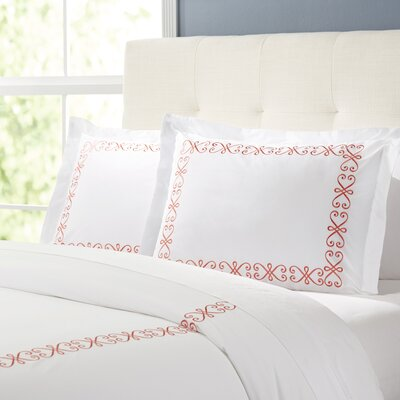 Balsam Duvet Set Color: White / Coral, Size: King